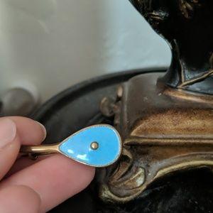 Antique tiffany or Robbin blue enamel pin brooch